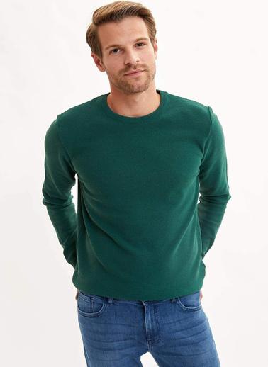 DeFacto Basic Slim Fit Kazak Yeşil